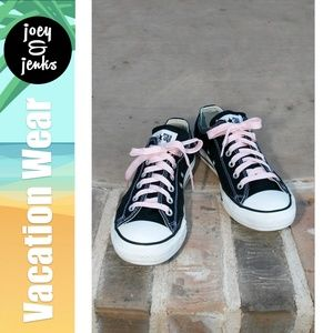 Converse Black Tennis Shoes Sneakers Pink Laces 9